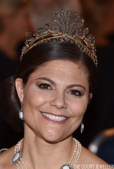Royal Tiaras: Crown Princess Victoria of Sweden wears the Napoleonic Cut-Steel Tiara Princess Victoria Of Sweden, Crown Princess Victoria, Silver Room, Royal Tiaras, Royal Jewelry, Sparklers, Precious Metals, Royals, Money Notes