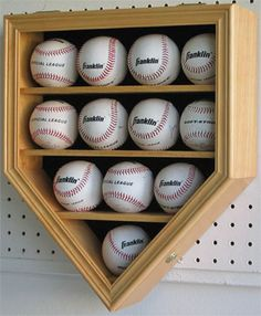 12 Baseball Ball Display Case Rack Holder Cabinet Mlb, Uv Protection Door Case