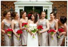 Our Wedding: Bridesmaids, Red Tulip Bouquets [Lauryn Galloway Photography]