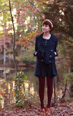 Evening Shade In The Lonely Hour by thenewclotheshorse: headband- vintage; jacket- h dress- family affairs; tights- target; shoes- vintage