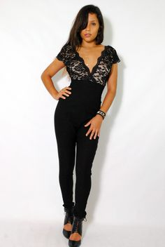 (amh) Lace top cap sleeves black jumpsuit