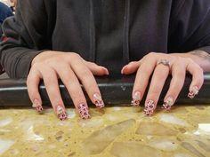 Nails! Light pink, half nail, cheetah print. 3 3-d stones.