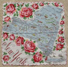 Vintage New York State Handkerchief Souvenir by pixiedustlinens
