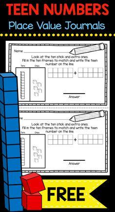 TEEN NUMBERS - Kindergarten Math Journal FREEBIE - Place value free worksheet using base ten blocks and ten frames