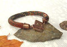 Bead Crochet Bracelet Autumn city Gray Copper Bronze by LeeMarina, $36.50