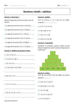 calcul nombre relatif 5ème Mathématiques