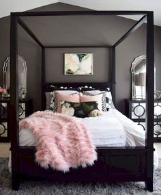 Girls Room Black Gold And Pink Black Paint Feature Wall Black