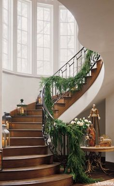 """antique French and Italian candelabrum and lanterns on staircase."""" Interior design by Pamela Pierce. """"House Warming: Invitation to Comfort,"""" Veranda (December Noel Christmas, All Things Christmas, French Christmas, Christmas Mantels, Best Interior Design, French Country Decorating, Minimalist Bedroom, Christmas Inspiration, Stairways"""