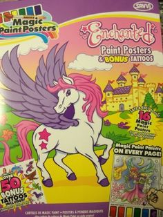 """Savvi Magic Paint Posters with over 50 Bonus Tattoos ~ Enchanted (8.5"""" x 11"""") by Savvi. $14.99. Apply tattoos with water and remove with baby oil or rubbing alcohol.. Savvi Magic Paint Posters - 8.5"""" x 11"""". Made in the USA!. Just dip a cotton swab or paintbrush in water!. Includes 16 perforated tear-out posters and over 50 temporary tattoos. Savvi Magic Paint Posters with over 50 Bonus Tattoos ~ Enchanted (8.5"""" x 11"""").    Just dip a cotton swab or paintbrush in wa..."""