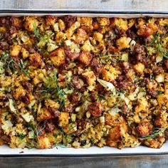Cornbread Dressing with Sausage and Fennel -- Bon Appétit Could even switch pears for apples Celery Recipes, Fennel Recipes, Cajun Recipes, Yummy Recipes, Thanksgiving Stuffing, Thanksgiving Menu, Cornbread Dressing With Sausage, Cornbread Stuffing, Bon Appetit