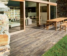 Give your home a beautiful aged look with Crate porcelain tile. Made in the USA, this reclaimed wood plank tile flooring offers a beautifully worn touch to any space. Outdoor Wood Tiles, Outdoor Stone, Plank Tile Flooring, Wood Plank Tile, Ceramic Flooring, Wood Planks, Modern Floor Tiles, Wood Look Tile Floor, Porch Tile
