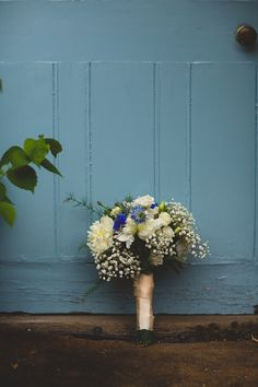 white and blue wedding flowers bouquet, image by S6 Photography