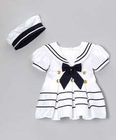 Look what I found on #zulily! White Bow Sailor Dress & Hat - Infant, Toddler & Girls #zulilyfinds
