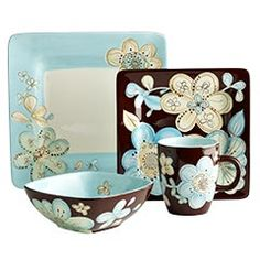 So pretty!    Cassidy Dinnerware    Clearance $4.38 - $5.38 Orig. $8.95 - $10.95  Flowers. Color. Hand-painted details and a shiny glazed finish. The Cassidy Collection puts it all together with a look that's soft, modern and pretty all at the same time. Best of all, these earthenware pieces can go from microwave to table to dishwasher. Even prettier. All sold separately.