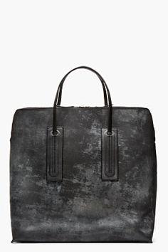 RICK OWENS BLACK Mottled etched SQUARE tote BAG