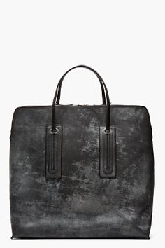 RICK OWENS BLACK Mottled & etched SQUARE tote BAG