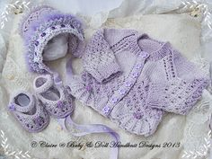 New baby girl gift set cardigan, bonnet and shoes for inch doll Knitting For Kids, Baby Knitting Patterns, Knitting Designs, Baby Patterns, Hand Knitting, Crochet Patterns, Baby Girl Gift Sets, New Baby Girls, Knitted Baby Cardigan