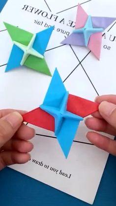 Cool Paper Crafts, Paper Flowers Craft, Fun Diy Crafts, Preschool Crafts, Instruções Origami, Origami Paper Folding, Paper Crafts Origami, Craft Projects For Kids, Origami Tutorial