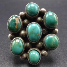 Vintage NAVAJO Sterling Silver & TURQUOISE CLUSTER RING, size 6.75, 8.6g