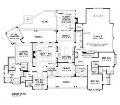 Plan of the Week over 2500 sq ft - The Meadow Creek 3369 sq ft, 4 Bedrooms, 3 Bathrooms. Dream House Plans, House Floor Plans, My Dream Home, Dream Houses, Lake Houses, I Love House, Ranch Style Homes, House Layouts, Home Design
