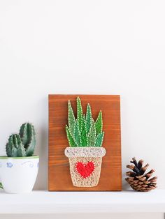 Succulent, Cacti wall art decor, colorful and modern plant string art decor, potted succulent wall decor for minimalist, Valentines gift by GoodLights on Etsy https://www.etsy.com/listing/575986129/succulent-cacti-wall-art-decor-colorful