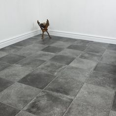 Check out the Serena Oliver cushioned vinyl flooring. It's got that gorgeous smoky tile look, perfect for a classic kitchen with high counters and glass cabinets, or a perfect fit for a classy, classic bathroom with white and black tones. Water resistant, tough, and cheaper than tiles.