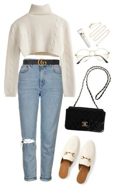 """""""Untitled #1351"""" by shannonmichellex ❤ liked on Polyvore featuring Topshop, Gucci, Chanel, White/Space and Origins"""