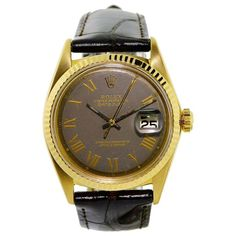 Vintage Rolex Datejust gold wrist watch, circa This watch has original Roman numeral charcoal dial with 26 jewel movement. Antique Watches, Vintage Watches, Watch 2, Vintage Rolex, Rolex Datejust, Roman Numerals, Wrist Watches, 18k Gold, Charcoal