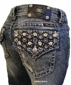 Miss Me Size 24, (Also Kids Sz 12) Floral Flap Pocket Boot Cut Jeans MP7503B NWT #MissMe #BootCut
