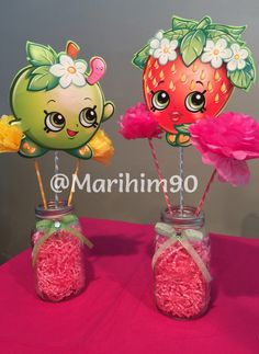 Made these Shopkins Centerpieces for my daughters 5th Birthday Party!