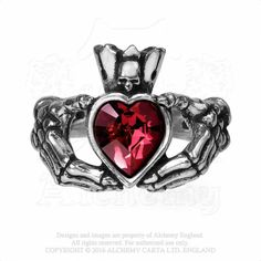 Alchemy Gothic Claddagh By Night Ring Red Heart w/ Skull & Skeleton Hands Love, Friendship and Loyalty vouchsafed from the underworld, in the ancient Irish tradition. Approximate Dimensions: Height: 1 I NEED THIS SO BADLY Gothic Wedding Rings, Skull Wedding Ring, Victorian Engagement Rings, Skull Engagement Rings, Skull Jewelry, Gothic Jewelry, Jewelry Rings, Jewlery, Gothic Clothing