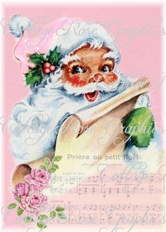 Large digital download collage Pink Roses French Music Shabby Santa Roses ATC ACEO gift tags ECS buy 3 get one free