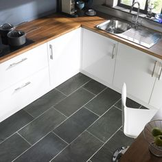 Kitchen Always Chic In Any Cooking Space Styles With Grey Floor Kitchen Grey Stone Tiles For Modern Look Kitchen Idea