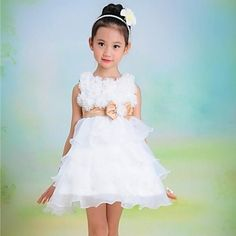 Girl's White Flower Bow Cake Tutu Princess Lovely Bridesmaids Wedding Dresses – USD $ 22.05