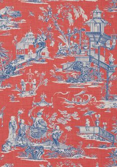 CHENG TOILE, Red and Blue, T75466, Collection Dynasty from Thibaut