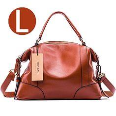 TOP-BAG Lovely Women Ladies' Genuine Leather Tote Bag Handbag Shoulder Bag, SF1006 (Brown-Large) - http://leather-handbags-shop.com/top-bag-lovely-women-ladies-genuine-leather-tote-bag-handbag-shoulder-bag-sf1006-brown-large/