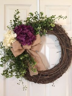 HYDRANGEA WREATH, created on a Grapevine Wreath with 2 Large Hydrangeas, Artificial Greenery, accent flowers and Burlap Bow. Per convo! Boxwood Wreath, Hydrangea Wreath, Grapevine Wreath, Wreath Crafts, Diy Wreath, Wreath Burlap, Wreath Ideas, Diy Crafts, Burlap Bows