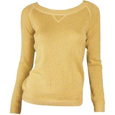 Essentiel Antwerp Yellow Metallic Gitane Sweater ($185) ❤ liked on Polyvore featuring tops, sweaters, shirts, yellow, metallic top, metallic sweater, loose sweaters, cut loose shirt and loose fit tops