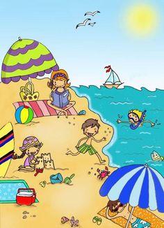 Beach scene to describe in language Spanish Classroom, Teaching Spanish, Teaching English, Picture Comprehension, Picture Composition, Picture Writing Prompts, Picture Story, Beach Scenes, Teaching Materials