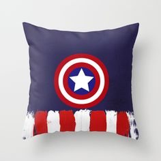 "Captain+""Steve+Rogers""+America+Throw+Pillow+by+Some_Designs+-+$20.00"