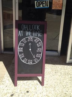 Sign at a used book/record store in Denton, TX / New Book Time!