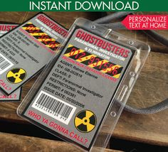 Ghostbuster Badges - Ghostbuster ID Badges, Ghostbuster Party Favor - Ghostbusters Inspired - Instant Download DIY Printable PDF Kit $3.50