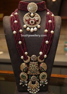 Ruby beads choker with uncut diamond pendant and ruby beads long necklace with u. - Ruby beads choker with uncut diamond pendant and ruby beads long necklace with uncut diamond pendan - Jewelry Design Earrings, Beaded Jewelry Designs, Necklace Designs, Emerald Jewelry, Jewelry Necklaces, Fancy Jewellery, Stylish Jewelry, Handmade Jewellery, Diamond Choker Necklace