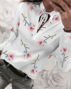 Floral Print Tied Detail Casual Blouse Shop- Women's Best Online Shopping - Offering Huge Discounts on Dresses, Lingerie , Jumpsuits , Swimwear, Tops and More. Floral Print Shirt, Floral Prints, Floral Blouse, Printed Blouse, Fall Fashion Trends, Autumn Fashion, Fashion Ideas, Fashion Tips, Womens Fashion For Work