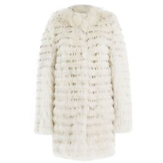 Yves Salomon Raccoon and Rabbit Fur Coat ($1,525) ❤ liked on Polyvore featuring outerwear, coats, white, rabbit fur coat, yves salomon, white coat, slim fit coat and slim coat