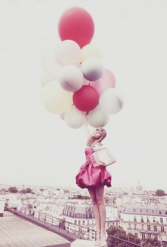 Paris rooftops, a pink girly dress, and a lot of balloons (Dior ad)