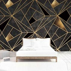 Self Adhesive Wallpaper Modern Creative 3D Geometric Lines Golden Abstract Waterproof Canvas Photo Murals Living Room 3D Sticker| | - AliExpress