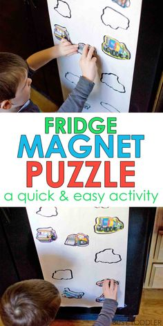 DIY Magnet Puzzle: What a great quick and easy toddler activity idea! Love it!