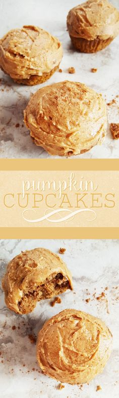 {Healthy, Low Calorie} Sweet and soft with just the right amount of spice, these pumpkin cupcakes are lightened up with a few simple ingredient swaps, and they're a perfect end to a big holiday meal!
