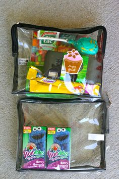 This has some great ideas of what to bring when going on  roadtrip with kids.